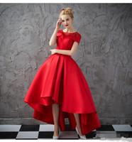 Vestidos de baile rojo alto bajo Vestidos de noche formal moldeado corto con cuentas Vestido de fiesta elegante Prom