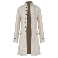 Vintage Mens Gothic Brocade Jacket Winter Frock Coat Steampu...