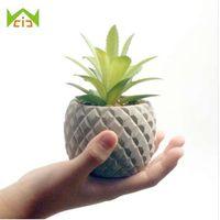 WCIC Mini Cemento Decorativo Vaso di Fiori Fioriera Ananas Forma Concrete Desktop Vivaio Cactus Succulente Semi Bonsai Vaso