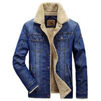 Winterkleidung Bomberjacke Herren Jeansjacke Pelz-Kragen-Jeans-Jacken Herren-Thick Windjacke Warme Cowboy-Mantel Jaqueta masculina