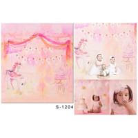 아기 소녀 핑크 비닐 백 드롭 사진 인쇄 유니콘 케이크 키즈 어린이 생일 파티 사진 부스 배경