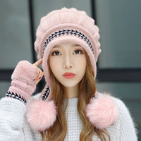 Women' s Russian Cossack Fluffy Pompom Bomber Hats Glove...