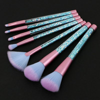 7 unids Mermaid Series Makeup Brush Set Quicksand Crystal Cosméticos Pinceles Polvo Sombra de ojos Fundación Maquillaje Herramienta 2 colores
