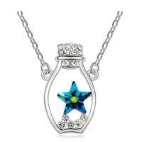 Hochwertiges Zubehör gemacht mit Kristallform Swarovski Elemente Mond und Stern-Halskette Anhänger Modeschmuck Damen 14407