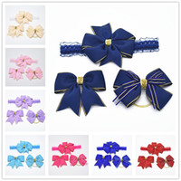 14sets navy color ribbon hair bows clips elastic head bands ...