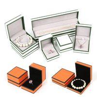 Bonito regalo de joyería caja de embalaje de alta calidad anillo anillo colgante collar brazalete brazalete cuadros de visualización logo personalizado