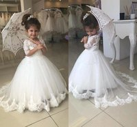 2018 Lovely White Flower Girls' Dresses Jewel Neck Tull...