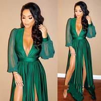 Dark Green Sexy Deep V Neck Long Sleeves Prom Dresses Plungi...