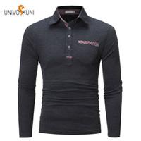 남성용 폴로스 Univos kuni 2021 봄 패션 캐주얼 남성 s 셔츠 슬림 맞춤 긴 소매 면화 빠른 건조 3XL J169