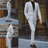 2018 New Arrival Slim Fit Two Pieces Men Suits Light Grey On...