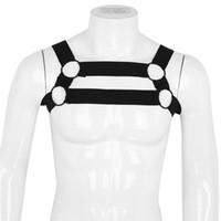 Костюмы для костюмов костюмов IEFIL мужское белье нижнее белье нейлоновая эластичная плечо тела сундук мышечный ремень ремень бондаж сексуальный костюм с металлическими кольцами