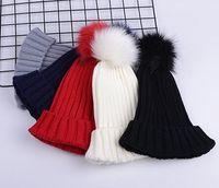 جديد الخريف الشتاء فتاة كبيرة محبوك قبعة الصوف الكرة الصلبة لون قبعات النساء الأم القبعات بيني قبعة