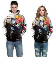 전체 가을 겨울 패션 남성 여성 표준 후드 캡 인쇄 총 광대 후드 후드 스웨터 3D 사랑스러운 운동복