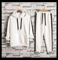 جرزاية الرجال البلوز مقنع هوديس السراويل الطويلة sweatpants رياضية الرجل بألواح تصميم بلوزات السراويل 2 قطع مجموعات ملابس رجالي