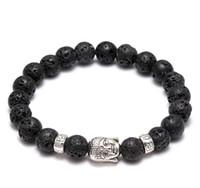 Männer Frauen Diffusor Schmuck Anti-Müdigkeit Silber Buddha Lava Naturstein Charms Armbänder vulkanischen Rock Gebetskette Armband KKA1916