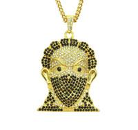 La collana della maschera della testa Catene del pendente di cristallo di modo punk i monili hip-hop per le donne degli uomini Trasporto libero