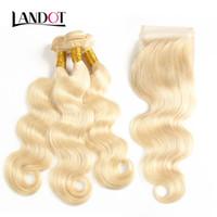 Brasilianisches Jungfrau-menschliches Haar webt 4 Bündel mit Bleichmittel blonde Farbe 613 Spitzenverschluss 9A peruanisches malaysisches indisches kambodschanisches Körperwellenhaar