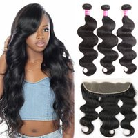 Brazilian virgin human hair Body Wave with lace frontal clos...