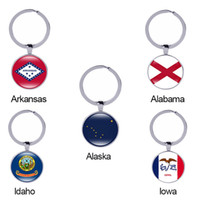 Idaho State Flag Portachiavi Arkansas Alabama Alaska Iowa Texas Ohio America 50 Stati Vetro Cabochon Auto Accessori Chiave Donne Regalo All'ingrosso