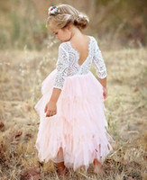 Girls Backless Lace dresses Tutu Luxury Party Princess dress...