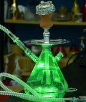 Doppio narghilè Shisha Bong Pipe di fumo con tubo acrilico Set di ceramica Cool ciotola di ceramica Strumenti stelo arabo Strumenti dell'olio Lampada a LED Due tubo diamante