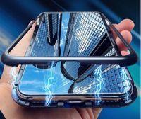 Caso magnética para iPhone 11 Pro Xs Max XR X vidro temperado Adsorção caixa de metal pára-choques capa dura para iPhone 8 7 6 Plus