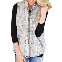 Womens New Vest Winter Warm Outwear Casual Faux Fur Zip Up Sherpa Jacket Berber Fleece Vest