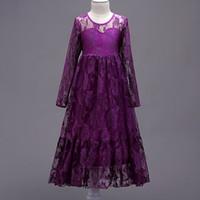 Vestido largo de la muchacha del vestido de boda del partido de la princesa de los niños del vestido largo del cordón del mani