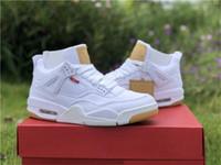 c31f9bbeb3e3 Nouveau Authentique 4 Denim Blanc Noir Jean 4S IV Baskets Chaussures De  Sport Sneakers Pour Hommes