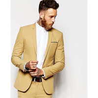 Casual yellow Men Suit Slim Fit Groom Tuxedos 2 Piece Mens W...