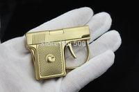 Nueva llegada envío gratis Mini novedad metal pistola a prueba de viento antorcha cigarro cigarro pistola encendedor con caja