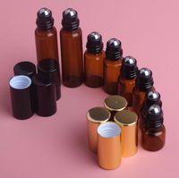 5 قطع 1 ملليلتر 2 ملليلتر 3 ملليلتر 5 ملليلتر العنبر لفة على زجاجة الرول للزيوت العطرية إعادة الملء زجاجة عطر حاويات مزيل العرق مع غطاء الذهب