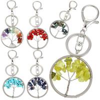 Árbol de la vida llavero de piedra cristalina natural hecho a mano diy llavero encanto colgante titular clave para las mujeres bolsos accesorios