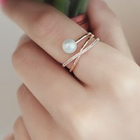Fashion Pearl with 14K Rose Gold Plated X Ring CZ Criss Cros...