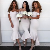 Summer Beach Ivory Bridesmaid Dresses Cheap Off Shoulder Sim...