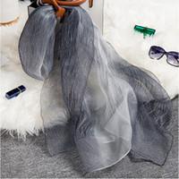 Nouveau écharpe de laine de soie châle dames foulards de haute qualité dame de la mode long couleur gradient triple châle femme