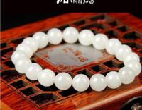China moda natural jade blanco manual molienda cuentas pulsera elástica pulsera