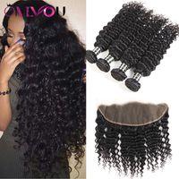 Tiefes lockiges Haar 4 Bündel mit 13 x 4 Lace Frontal Closure Ohr zu Ohr Hand Weben Remy Echthaar Extensions Malaysian Virgin Hair Weaves