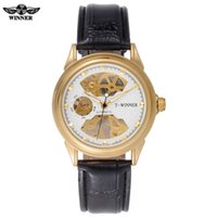 Erkekler mekanik saatler İskelet saatler erkekler için WINNER marka iş el rüzgar kol saatleri deri kayış sıcak kadın hediye saat