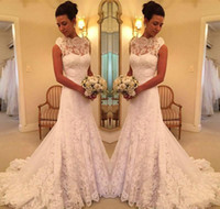 Full Lace Mermaid Wedding Dresses Jewel Sleevless Covered Button Beach Garden Bridal Gowns Princess Robe De Soiree Bride Party Wear Cheap