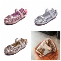 Zapatos de las niñas Zapatos de lentejuelas Bow Party Dance Princess Flat Kids Shoes For Girl Pu zapatos de cuero