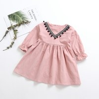 2019 spring and autumn new girls cotton and linen long- sleev...