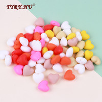 TYRY. HU 10Pc Silicone Heart Beads Loose BPA Free For Baby Si...