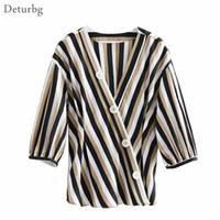 Deturbg Vintage Vintage Striped V Cuello Camisas Damas Casual 3/4 manga cruzada abotonada Blusa tops y blusas 2018 Otoño Br515