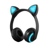 Foldable 고양이 귀 블루투스 이어폰 헤드폰 스마트 폰 MP3 S8 휴대 전화에 대 한 LED 빛으로 빛나는 헤드셋 깜박임
