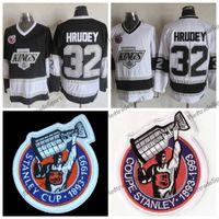 Vintage 1993 Stanley Kupası 100. Los Angeles Kings Kelly Hrudey Hokeyi Formalar LA KINGS 32 Kelly Hrudey Dikişli Hokey Gömlek 100. Yama
