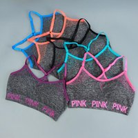 Pink Sports Bras Yoga Running Vests Women Pink Letter Gym Sh...