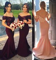 어깨에서 우아한 인어 긴 신부 들러리 드레스 새틴 루칭 공식 파티 웨딩 게스트 하녀 명예 드레스 BA3962
