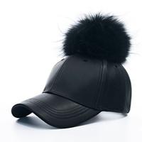 Casquette de baseball en similicuir avec fourrure pour hommes Snapback Hat Casquette ajustable Hip-Hop Bboy