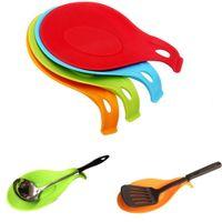مقاومة ملعقة شوكة حصيرة الراحة إناء ملعقة حامل أداة مطبخ شيك مفيدة العزل تحديد الموقع الجدة لون الحلوى أدوات المطبخ BBA324